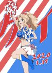 1girl alternate_costume alternate_hairstyle american_flag arm_up belt blonde_hair blue_eyes blue_footwear blue_shirt boots bow cheerleader commentary crop_top dated flag_background fringe_trim girls_und_panzer grey_belt hair_bow hair_intakes hair_up high_heel_boots high_heels highres holding_pom_poms kay_(girls_und_panzer) leg_up long_hair midriff miniskirt nao_(nao_puku777) open_mouth pleated_skirt ponytail red_bow shirt skirt smile solo standing standing_on_one_leg sweat white_skirt