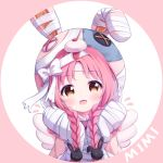 1girl :d akane_mimi animal_ears animal_hat bandaged_ear bandaged_hands bandages bangs blush bow braid brown_eyes bunny_hair_ornament bunny_hat character_name eyebrows_visible_through_hair fake_animal_ears fake_wings flying_sweatdrops hair_ornament hands_up hat long_hair looking_at_viewer low_twintails open_mouth parted_bangs pink_background pink_capelet pink_hair pink_headwear princess_connect! princess_connect!_re:dive rabbit_ears smile solo tokenbox twin_braids twintails two-tone_background white_background white_bow white_wings wings