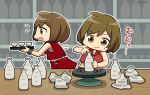 2girls bare_shoulders bottle brown_eyes brown_hair chibi clay commentary crop_top cup dual_persona meiko meiko_(vocaloid3) multiple_girls nokuhashi open_mouth potters_wheel pottery red_shirt red_skirt sake_bottle shelf shirt short_hair skirt sweatdrop translated tray vocaloid wooden_table wristband