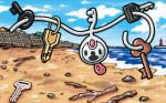 :d beach black_eyes blue_sky clouds cloudy_sky commentary creature day english_commentary floating full_body gen_6_pokemon happy house key klefki looking_at_viewer multiple_sources no_humans ocean official_art open_mouth outdoors pokemon pokemon_(creature) pokemon_trading_card_game rock sand sky smile solo stick third-party_source tower water