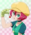 1girl breasts cabbie_hat cherry food fruit gloves green_eyes hat langley_(pokemon) looking_at_viewer mori_hayaki open_mouth pink_hair pokemon pokemon_(anime) short_hair solo
