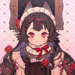 1girl :< bow braid brown_hair closed_mouth colored_tears copyright_request flower frame heart highres light_blush long_hair looking_at_viewer red_bow red_flower red_rose rose rosette_(yankaixuan) solo tears upper_body