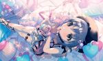 1girl aqua_bow bangs bedroom beret black_footwear black_headwear blurry blurry_background bow collarbone cross-laced_footwear cupcake curtains dress eyelashes fingernails food fur_bracelet grey_eyes grey_hair hat heart heart_balloon heart_pillow highres holding holding_food idolmaster idolmaster_cinderella_girls indoors lace lace-trimmed_dress lamp leg_garter legs_up looking_at_viewer lying mattress mirror on_back on_bed otokura_yuuki picture_frame pillow pink_bow pink_dress pink_ribbon ribbon sheer_clothes shoe_bow shoes short_hair social_kasu_(mob_oji_katu) solo stuffed_animal stuffed_toy teddy_bear window
