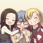 3girls =_= ^_^ ayasaka bang_dream! bangs beige_background black-framed_eyewear black_hair black_shirt black_vest blonde_hair blue_hair bracelet closed_eyes commentary_request crop_top facing_viewer flying_sweatdrops glasses grin group_picture hair_over_shoulder hand_on_another's_chin hand_on_another's_head heart-shaped_mouth jacket jewelry layer_(bang_dream!) lock_(bang_dream!) long_hair long_sleeves low-tied_long_hair masking_(bang_dream!) multiple_girls no_bangs parted_hair print_scrunchie red_jacket scrunchie shirt short_hair smile star star_print track_jacket upper_body v-shaped_eyebrows vest white_shirt