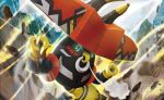 commentary creature english_commentary gen_7_pokemon green_eyes legendary_pokemon looking_at_viewer multiple_sources no_humans official_art pokemon pokemon_(creature) pokemon_trading_card_game rock shirai_satoshi solo tapu_bulu third-party_source