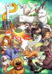 adventure_time akamaru_(naruto) amaterasu avatar_(series) blue_sky brown_eyes closed_eyes coco_(disney) commentary cowboy_bebop creature crossover day doctor_who dogs:_bullets_&_carnage ein_(cowboy_bebop) english_commentary eye_contact fangs flower gen_1_pokemon grass growlithe highres jake_the_dog looking_at_another looking_at_viewer lying mononoke_hime naruto naruto_(series) no_humans on_stomach ookami_(game) outdoors pixar pokemon pokemon_(creature) risachantag rwby sen_to_chihiro_no_kamikakushi sky standing the_legend_of_korra the_legend_of_zelda the_nightmare_before_christmas tongue tongue_out too_many_dogs tree undertale up watermark web_address wolf