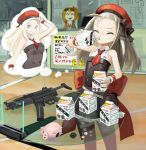 1girl belt_pouch beret blonde_hair blue_eyes bow closed_eyes coin commentary_request double-breasted dress drinking facing_viewer fingernails flat_chest girls_frontline glass_table gun h&k_mp5 hat hat_bow highres holding imagining kalina_(girls_frontline) kesomaru long_hair milk milk_carton mp5_(girls_frontline) necktie piggy_bank pouch red_headwear red_neckwear ribbon short_necktie sleeveless sleeveless_dress solo submachine_gun table thought_bubble translation_request weapon wrist_ribbon
