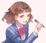 1girl blazer blush brown_eyes brown_hair cherico hair_ornament highres jacket open_mouth original school_uniform short_hair solo