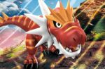 3d claws commentary creature day dinosaur english_commentary full_body gen_6_pokemon hatachuu multiple_sources no_humans official_art outdoors pokemon pokemon_(creature) pokemon_trading_card_game solo third-party_source tyrantrum