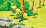 ._. bellsprout black_eyes bush closed_mouth commentary creature day english_commentary full_body gen_1_pokemon grass multiple_sources no_humans official_art outdoors pokemon pokemon_(creature) pokemon_trading_card_game rock smile standing third-party_source tree yamashita_masako