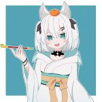 1girl :d animal_ears ars_almal black_bow blue_background blue_eyes bow food food_on_head fox_ears fruit fruit_on_head hair_bow hair_ornament hairclip hand_up hidarimigi1221 highres japanese_clothes kimono kiseru looking_at_viewer nijisanji object_on_head open_mouth orange pipe short_hair smile solo standing two_side_up virtual_youtuber white_hair wristband