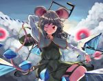 1girl animal_ears arm_behind_head arms_up basket blue_capelet blue_sky capelet clouds danmaku day dowsing_rod dress grey_dress grey_hair highres holding_rod leg_lift long_sleeves looking_at_viewer mouse mouse_ears mouse_tail nazrin one_eye_closed outdoors red_eyes shirt short_hair sky smile solo sunyup tail touhou white_shirt