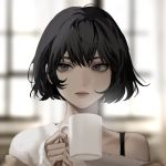 1girl 1l9l2aa8ucl0igj bangs bare_shoulders black_hair cup face grey_eyes holding holding_cup korean_commentary looking_to_the_side mole mole_under_eye mug off_shoulder original short_hair strap window
