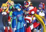3boys 3girls alia_(rockman) android aqua_eyes armor armored_boots axl bangs black_background black_bodysuit blonde_hair blue_armor blue_background blue_bodysuit blue_eyes blue_headwear bodysuit boots breasts brown_bodysuit brown_hair commentary_request cowboy_shot dark_skin eyebrows_visible_through_hair forehead gauntlets gloves gradient gradient_background green_armor green_eyes grey_bodysuit grin hair_over_eyes hand_on_headphones hand_on_hip hand_up headphones helmet highres hime_cut large_breasts layer long_hair looking_at_viewer low_ponytail mitsunagami mole mole_under_eye multiple_boys multiple_girls outline palette_(rockman) parted_lips pink_armor profile purple_armor purple_hair red_armor robot_ears rockman rockman_x rockman_x8 scar shadow sidelocks small_breasts smile spiky_hair standing twintails white_armor white_gloves x_(rockman) zero_(rockman)