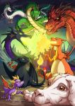 breathing_fire brown_eyes charizard claws commentary creature crossover dragon dragon_ball english_commentary eye_contact falkor fiery_tail fire flame flying gen_1_pokemon green_eyes haku_(sen_to_chihiro_no_kamikakushi) horns how_to_train_your_dragon looking_at_another looking_at_viewer maleficent mulan mushu_(disney) no_humans on_shoulder outdoors pokemon_(creature) red_eyes risachantag sen_to_chihiro_no_kamikakushi signature sitting sky sleeping_beauty smaug spyro_(series) spyro_the_dragon standing tail the_hobbit the_neverending_story toothless watermark web_address wings yellow_eyes