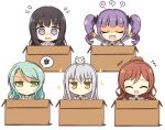 +++ 5girls :< :3 @_@ ^_^ animal_on_head aqua_hair bang_dream! bangs black_hair black_ribbon blue_neckwear blush blush_stickers box brown_hair brown_serafuku bunny_earrings cardboard_box cat cat_on_head chibi closed_eyes collared_shirt commentary_request drill_hair error eyebrows_visible_through_hair fang flying_sweatdrops green_eyes green_neckwear grey_jacket hair_between_eyes hair_ribbon half_updo hanasakigawa_school_uniform haneoka_school_uniform hasewox highres hikawa_sayo hime_cut imai_lisa in_box in_container jacket jitome laughing long_hair long_sleeves looking_at_viewer minato_yukina multiple_girls necktie nervous nose_blush on_head open_mouth outstretched_arms own_hands_together purple_hair ribbon roselia_(bang_dream!) sailor_collar school_uniform serafuku shaded_face shirokane_rinko shirt sidelocks silver_hair simple_background smile sparkle spoken_squiggle squiggle striped striped_neckwear sweatdrop twin_drills twintails u_u udagawa_ako upper_body violet_eyes white_background white_sailor_collar white_shirt yellow_eyes |3 |_| |d