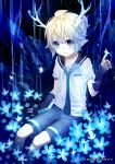 1boy :| alalen antlers aqua_neckwear arm_at_side arm_up artist_name black_sailor_collar black_shorts blonde_hair blue_eyes blue_flower blush bug butterfly closed_mouth collarbone crystal dated detached_sleeves flower glowing glowing_flower gradient_hair highres index_finger_raised insect kagamine_len light_particles light_rays looking_at_viewer male_focus multicolored_hair necktie night outdoors sailor_collar shirt short_ponytail shorts sitting sleeves_past_wrists solo treble_clef vocaloid white_shirt
