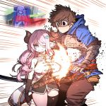 1boy 1girl belt blood blood_from_mouth blue_eyes breasts brown_hair draph fingerless_gloves gameplay_mechanics gauntlets gloves gran_(granblue_fantasy) granblue_fantasy granblue_fantasy_versus hair_ornament hair_over_one_eye hairclip highres hit_box hitting hood hoodie horns idohj12 large_breasts narmaya_(granblue_fantasy) pink_hair pointy_ears single_thighhigh thigh-highs