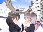 2girls animal_ear_fluff animal_ears antlers bangs bell black_gloves black_hair blush breath brown_eyes commentary_request extra_ears eye_contact eyebrows_visible_through_hair fur-trimmed_sleeves fur_collar fur_trim gloves green_eyes grey_hair hair_ribbon holding_hands kemono_friends long_hair long_sleeves looking_at_another medium_hair moose_(kemono_friends) moose_ears mountainous_horizon multiple_girls nb_(pixiv594732) profile red_ribbon reindeer_(kemono_friends) reindeer_antlers reindeer_ears ribbon sideways_mouth smile snow tree upper_body yuri