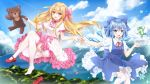 2girls blonde_hair blue_dress blue_eyes blue_hair blue_ribbon blush bow cirno clouds collar dress fairy_wings frilled_collar frills frog hair_bow hair_ornament hei_kuang_jun highres holding holding_stuffed_animal ice ice_wings kanji_hair_ornament keisenko lake long_hair mountain multiple_girls open_mouth pinafore_dress pink_bow pink_collar pink_sash puffy_short_sleeves puffy_sleeves red_bow red_footwear red_ribbon ribbon shirt shoes_removed short_hair short_sleeves skirt sky stuffed_animal stuffed_toy teddy_bear touhou white_legwear white_shirt wing_collar wings
