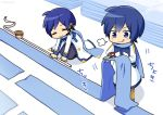 2boys blue_eyes blue_hair blue_pants blue_scarf brown_pants chibi closed_eyes coat commentary cutting fabric holding holding_scarf holding_scissors ice_cream_cup kaito kaito_(vocaloid3) kneeling male_focus multiple_boys nokuhashi pants scarf scissors smile standing tape_measure tongue tongue_out translated visible_air vocaloid white_coat