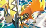 commentary creature english_commentary gen_7_pokemon kawaguchi_youhei legendary_pokemon looking_down multiple_sources no_humans official_art pokemon pokemon_(creature) pokemon_trading_card_game solo tapu_koko third-party_source
