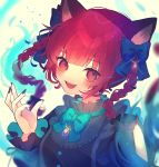 1girl animal_ears black_bow black_shirt blue_bow blush bow braid brooch cat_ears chikuwa_(tikuwaumai_) fangs fingernails frills hair_bow hand_up highres hitodama jewelry kaenbyou_rin long_fingernails long_hair long_sleeves looking_at_viewer open_mouth purple_nails red_eyes redhead shirt smile solo touhou twin_braids twintails twitter_username upper_body