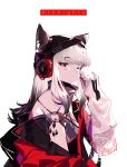 1girl animal_ears arknights bare_shoulders black_hair blush breasts copyright_name finn_zoey frostleaf_(arknights) gradient_hair grey_hair hat headphones highres jacket long_hair looking_at_viewer multicolored_hair one_eye_closed red_eyes red_nails solo two_side_up