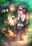 1girl barbecue black_legwear black_skirt blowing boots bowl camping chair commentary_request cup eyebrows_visible_through_hair fire folding_chair folding_table frying_pan grass green_vest hair_between_eyes hat holding holding_cup lantern long_hair long_sleeves original outdoors peaked_cap plaid plaid_skirt plate pot purple_hair sakurano_tsuyu shirt sitting skirt solo steam sunny_side_up_egg thigh-highs tree vest violet_eyes wood yellow_shirt zettai_ryouiki