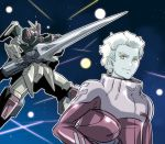 1boy buster_gundam dearka_elsman explosion gundam gundam_00_a_wakening_of_the_trailblazer gundam_seed headwear_removed helmet helmet_removed highres ishiyumi mecha pale_skin pilot_suit space yellow_eyes