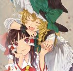 2girls apron blonde_hair bow braid closed_eyes commentary_request detached_sleeves green_bow green_ribbon hair_bow hair_ribbon hair_tubes hakurei_reimu hand_on_own_cheek hat hat_bow head_rest heart holding_hands interlocked_fingers kayako_(tdxxxk) kirisame_marisa multiple_girls open_mouth red_eyes ribbon single_braid touhou tress_ribbon waist_apron witch_hat wrist_cuffs yellow_neckwear