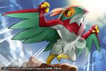 2015 commentary creature english_commentary full_body gen_6_pokemon hawlucha match_(idleslumber) multiple_sources no_humans official_art pokemon pokemon_(creature) solo standing standing_on_one_leg watermark