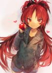 1girl absurdres apple bangs black_shirt food fruit green_sweater grey_background grin hand_in_pocket heart highres holding holding_food holding_fruit hood hooded_sweater jacket kaamin_(mariarose753) long_hair long_sleeves mahou_shoujo_madoka_magica ponytail red_eyes redhead sakura_kyouko shirt shorts simple_background smile solo sweater