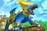 2015 blue_sky clouds cloudy_sky commentary creature day dog_focus english_commentary fangs full_body gen_3_pokemon grass looking_up manectric match_(idleslumber) multiple_sources no_humans open_mouth outdoors pokemon pokemon_(creature) pokemon_trading_card_game red_eyes sky solo standing tree watermark