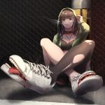 1girl adidas black_bra black_legwear blood blue_eyes bra brown_hair cigarette collar commentary_request crossed_legs earphones earphones highres hood hood_up hoodie jacket living_clothes looking_at_viewer lucy_(rusi-juren328) medium_hair open_clothes open_jacket original pantyhose saliva shoe_soles shoes single_leg_pantyhose sitting sitting_on_ground smoking sneakers solo spiked_collar spikes teeth tongue tongue_out torn_clothes torn_legwear underwear what wire_fence