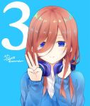 1girl 3 artist_name blue_background blue_cardigan brown_hair cardigan commentary_request go-toubun_no_hanayome hair_between_eyes hand_on_headphones headphones headphones_around_neck long_hair long_sleeves looking_at_viewer nakano_miku number peke_(xoxopeke) shirt simple_background smile solo twitter_username upper_body w white_shirt