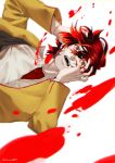 1boy absurdres black_hair blood collarbone hand_on_own_face highres lycan_kafka male_focus multicolored multicolored_hair open_mouth original red_eyes redhead sharp_teeth simple_background solo tears teeth twitter_username