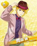 blonde_hair character_name hat idolmaster idolmaster_side-m jacket maita_rui red_eyes short_hair
