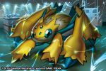 2016 blue_eyes bug commentary creature electricity english_commentary full_body galvantula gen_5_pokemon match_(idleslumber) multiple_sources no_humans pokemon pokemon_(creature) pokemon_trading_card_game solo spider standing watermark