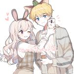 1boy 1girl animal_ears bangs black_hairband blonde_hair blue_eyes blush_stickers brown_hair brown_vest carrot_hair_ornament cellphone closed_mouth collared_shirt commission dress_shirt eyebrows_visible_through_hair fake_animal_ears food food_themed_hair_ornament grey_jacket hair_ornament hairband hand_on_another's_shoulder heart holding holding_cellphone holding_food holding_phone ice_cream ice_cream_cone jacket long_hair long_sleeves moffle_(ayabi) one_eye_closed open_clothes open_jacket original parted_lips phone rabbit_ears shirt simple_background smile soft_serve taking_picture very_long_hair vest white_background white_shirt