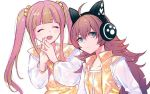2girls :d ^_^ ahoge bang_dream! bangs blue_eyes blunt_bangs blush brown_hair cat_ear_headphones chu2_(bang_dream!) closed_eyes frown hands_together headphones interlocked_fingers long_hair long_sleeves multicolored_hair multiple_girls open_mouth pareo_(bang_dream!) pink_hair redhead see-through_sleeves shiontaso sidelocks simple_background smile steepled_fingers streaked_hair twintails two-tone_hair upper_body white_background