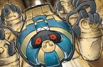 cofagrigus commentary extra_arms full_body gen_5_pokemon grin koizumi_tetsuya lying multiple_sources no_humans official_art on_back pokemon pokemon_(creature) pokemon_trading_card_game red_eyes smile solo third-party_source