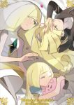 1boy 2girls artist_request blonde_hair breasts character_doll clefairy closed_eyes commentary copyright_name dress english_commentary gen_1_pokemon gladio_(pokemon) green_eyes highres lillie_(pokemon) long_hair looking_at_another lusamine_(pokemon) mother_and_children multiple_girls official_art pokemon small_breasts white_dress