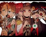 1girl 5boys amane_tsukasa armlet black_hair black_shirt blonde_hair blue_shirt bracelet camera gakuran gradient_hair green_eyes grey_hair hair_over_one_eye hanako_(jibaku_shounen_hanako-kun) hiiragi_fuyuki hitodama holding holding_camera holding_sword holding_weapon jewelry jibaku_shounen_hanako-kun long_hair long_sleeves looking_at_viewer minamoto_kou minamoto_teru mole mole_under_eye multicolored_hair multiple_boys necktie orange_eyes pin pink_cardigan pink_hair red_eyes sailor_collar scarf school_uniform sheath sheathed shirt short_bangs short_sleeves single_earring skull sousuke_mitsuba sword upper_body vertical-striped_neckwear weapon white_neckwear white_shirt yashiro_nene yellow_eyes
