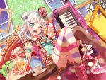 bang_dream! blush dress green_eyes grey_hair keyboard_(instrument) long_hair smile wakamiya_eve