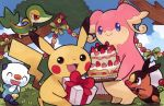 :d ^_^ audino birthday blue_sky box brown_eyes cake closed_eyes clouds cloudy_sky commentary day english_commentary eo_kanako facing_viewer fangs food gen_1_pokemon gen_5_pokemon gift grass happy holding holding_box holding_gift looking_at_viewer multiple_sources official_art open_mouth oshawott outdoors pikachu pokemon pokemon_trading_card_game shadow sky smile snivy standing tepig third-party_source tree