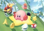 >:) >:o \./ banana_peel bean_stalk blooper blue_shell blue_sky bob-omb clouds coin green_shell highres kirby kirby_(series) kirby_air_ride mario_kart mushroom o_o red_shell sky smile star suyasuyabi warp_star wheelie wide-eyed