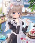 1girl ahoge animal_ear_fluff animal_ears apron black_dress blue_eyes blurry braid brown_hair cake cat_ears clock commentary_request depth_of_field dress finger_to_mouth flower food frills hat highres jar jimmy juliet_sleeves kitchen long_sleeves looking_at_viewer maid maid_apron medium_hair mob_cap original picture_frame pink_flower plant puffy_sleeves rose solo wall_clock
