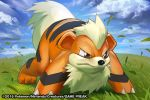 2015 claws commentary creature dog_focus english_commentary full_body gen_1_pokemon growlithe match_(idleslumber) multiple_sources no_humans official_art pokemon pokemon_(creature) solo standing watermark