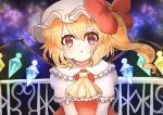 1girl annoyed ascot blonde_hair blush bow crystal eyebrows_visible_through_hair fangs flandre_scarlet frilled_shirt frilled_shirt_collar frilled_sleeves frills hat hat_ribbon highres medium_hair mob_cap one_side_up puffy_short_sleeves puffy_sleeves red_bow red_eyes red_ribbon red_skirt red_vest ribbon shigure shirt short_sleeves side_ponytail skirt touhou upper_body vest white_shirt wings yellow_neckwear